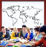 Kartografia związku ziemi Światowej mapy pojęcie zdjęcia stock
