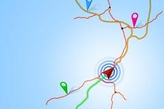 Kartografisk illustrationöversiktsnavigering på blå bakgrund Royaltyfri Foto