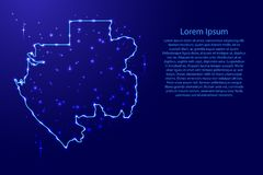 Kartografuje Gabon od kontur sieci błękita, świecące przestrzeni gwiazdy dla sztandaru, plakat, kartka z pozdrowieniami ilustracj Fotografia Royalty Free
