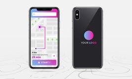 Kartografuje GPS nawigację, stać na czele i wykłada nawigację z sprecyzowanym na ekranie, tylny smartphone mapy zastosowanie royalty ilustracja