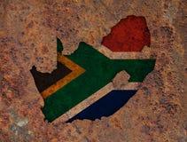 Kartografuje i flaga Południowa Afryka na ośniedziałym metalu Zdjęcie Royalty Free