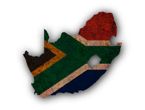 Kartografuje i flaga Południowa Afryka na ośniedziałym metalu Obrazy Royalty Free
