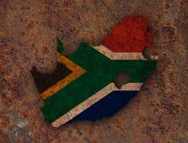 Kartografuje i flaga Południowa Afryka na ośniedziałym metalu Zdjęcia Stock