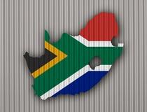 Kartografuje i flaga Południowa Afryka na panwiowym żelazie Zdjęcia Stock