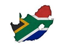 Kartografuje i flaga Południowa Afryka na starej pościeli Zdjęcia Royalty Free