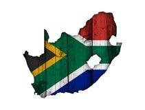 Kartografuje i flaga Południowa Afryka na wietrzejącym drewnie Zdjęcia Stock