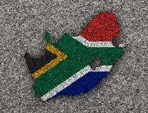 Kartografuje i flaga Południowa Afryka na makowych ziarnach Fotografia Stock