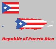 Kartografuje kontur Puerto Rico, horyzontalni zespoły z równoramiennym trójbokiem opierającym się na dźwignika bielu i strony gwi royalty ilustracja