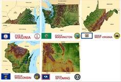 Kartografuje okręgu administracyjnego usa stany Zdjęcia Stock