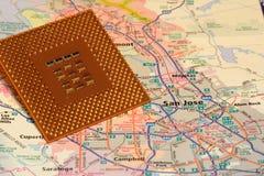 Kartografuje San Jose Kalifornia Silikonów dolinę Zdjęcie Stock