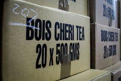 Kartonów pudełka Bois Cheri herbata Fotografia Royalty Free