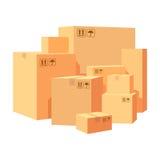 Karton boksuje doręczeniowy pakować Stos różnorodny brogujący towarowi kartony ilustracja odizolowywająca na whit royalty ilustracja