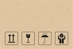 Karton de reeks van het verpakkingspictogram Breekbaar zorgteken en symbool vector illustratie