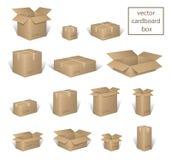 Karton dostawa pakuje otwartego i zamkniętego pudełko z kruchymi znakami ustawiającymi, Brown pudełka kolekcja, kartonowy zbiorni ilustracja wektor