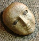 Karton maska na Burlap Obrazy Royalty Free