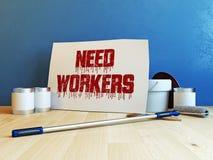 Karton met het bericht van Behoeftearbeiders bij het witte 3d teruggeven wordt als achtergrond geïsoleerd die Royalty-vrije Stock Fotografie