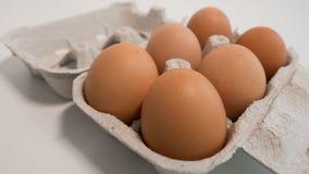 Karton sześć jajek na białym stole g??boko?? pola p?ytki obraz royalty free