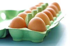 Karton van ruwe eieren Royalty-vrije Stock Foto's