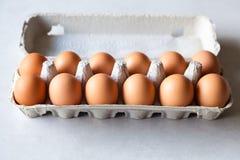 Karton van verse bruine Eieren, Stock Foto's
