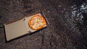 Karton z pizz? na otoczak pla?y zbiory