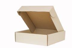Karton z trzepnięcie otwartym deklem, dekiel otwarty, odosobnionym na bielu. zdjęcie stock