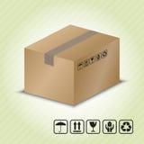 Kartonbehälter mit dem Paket, das Symbol behandelt Stockfotografie