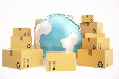 Kartondoos het verschepen en leverings bedrijfsconcept wereldwijd, de bol van de aardeplaneet het 3d teruggeven Elementen van dit Royalty-vrije Stock Afbeeldingen