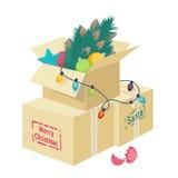 Kartondoos met Kerstmisdecoratie royalty-vrije illustratie