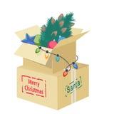 Kartondoos met Kerstmisdecoratie stock illustratie
