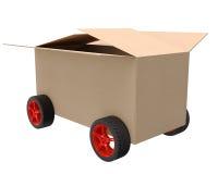 Kartondoos op wielen Stock Afbeelding