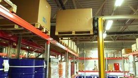 Kartondozen binnen een opslagpakhuis stock footage