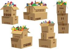 Kartondozen met goederen worden gestapeld die Royalty-vrije Stock Afbeelding