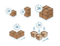 Kartondozen met klok op witte achtergrond wordt geïsoleerd die Royalty-vrije Stock Afbeeldingen