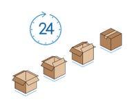 Kartondozen met klok op witte achtergrond wordt geïsoleerd die Royalty-vrije Stock Foto