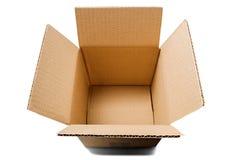 Kartondozen op geïsoleerde witte achtergrond Pakket met lege ruimte voor uw tekst Patroon voor levering of de postdienst stock afbeeldingen