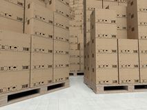 Kartondozen op houten paletts, binnen het pakhuis Royalty-vrije Stock Foto