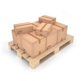 Kartondozen op houten pallet & x28; 3d illustration& x29; Stock Fotografie