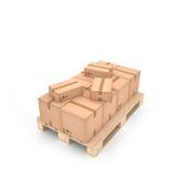 Kartondozen op houten pallet & x28; 3d illustration& x29; royalty-vrije illustratie