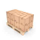 Kartondozen op houten pallet & x28; 3d illustration& x29; stock illustratie