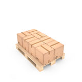 Kartondozen op houten pallet & x28; 3d illustration& x29; vector illustratie