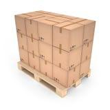 Kartondozen op houten pallet & x28; 3d illustration& x29; Stock Afbeeldingen
