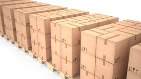 Kartondozen op houten pallets & x28; 3d illustration& x29; Royalty-vrije Stock Afbeelding