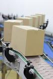 Kartondozen op transportband in fabriek stock foto