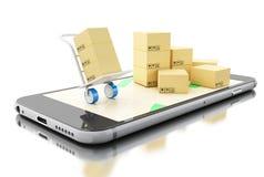kartonger 3d på Smartphone isolerad white för begrepp leverans Royaltyfri Bild