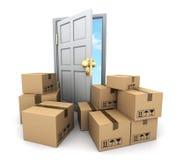 Kartonger och dörr stock illustrationer