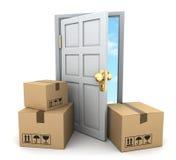 Kartonger och dörr royaltyfri illustrationer