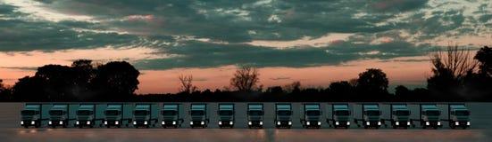Kartonger p? tr?paletten p? en vitbakgrund Grupp av lastlastbilar i rad under en dramatisk sol Bekl?da besk?dar illustration 3d vektor illustrationer