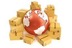 Kartongsändnings och världsomspännande leveransaffärsidé, jordplanetjordklot framförande 3d Beståndsdelar av denna avbildar Arkivbilder