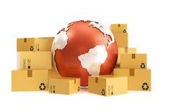 Kartongsändnings och världsomspännande leveransaffärsidé, jordplanetjordklot framförande 3d Beståndsdelar av denna avbildar Arkivfoto