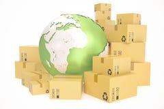 Kartongsändnings och världsomspännande leveransaffärsidé, jordplanetjordklot framförande 3d Beståndsdelar av denna avbildar Royaltyfri Bild